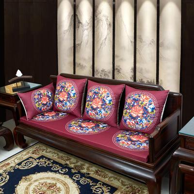 2020新款麻布印花沙发垫 花团锦簇 每平方(单套子,不含海绵) 秋香-玫红