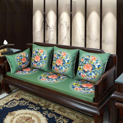 2020新款麻布印花沙发垫 花团锦簇 每平方(单套子,不含海绵) 秋香-墨绿