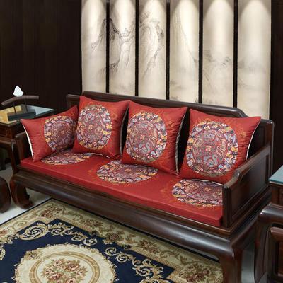 2020新款麻布印花沙发垫 花团锦簇 每平方(单套子,不含海绵) 五龙团-红