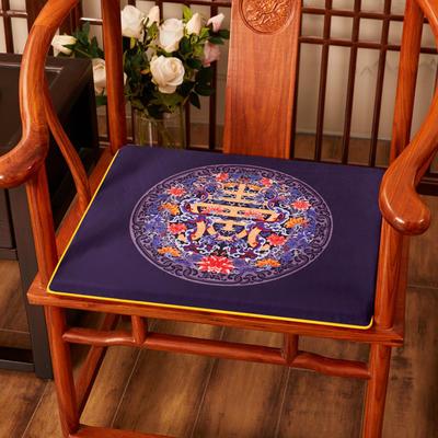 2020新款绒布印花坐垫系列-花团锦簇 40x40x2cm 福寿-藏蓝