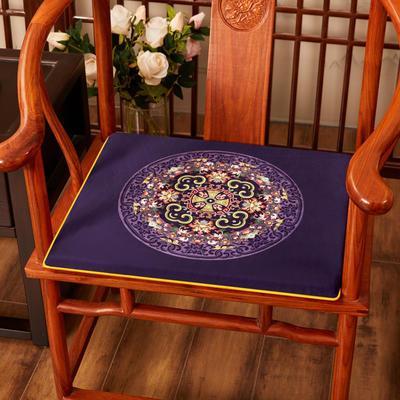 2020新款绒布印花坐垫系列-花团锦簇 40x40x2cm 花团锦簇-藏蓝