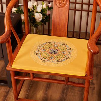 2020新款绒布印花坐垫系列-花团锦簇 40x40x2cm 花团锦簇-亮黄