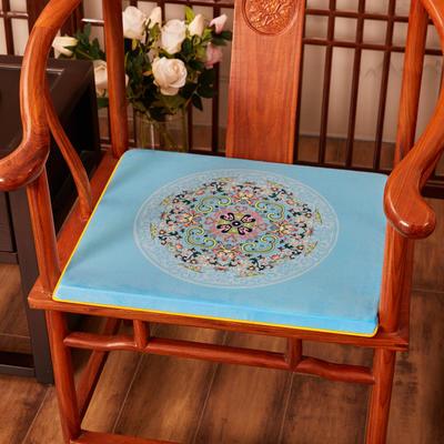 2020新款绒布印花坐垫系列-花团锦簇 40x40x2cm 花团锦簇-亮蓝