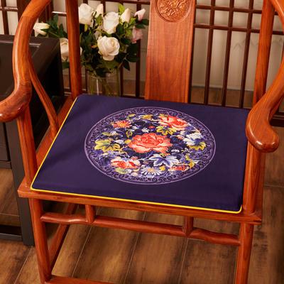 2020新款绒布印花坐垫系列-花团锦簇 40x40x2cm 秋香-藏蓝