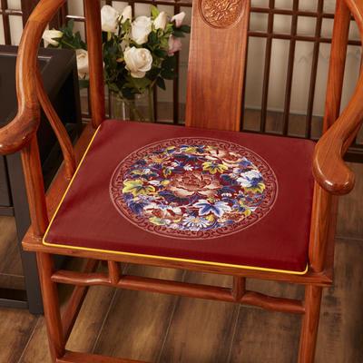 2020新款绒布印花坐垫系列-花团锦簇 40x40x2cm 秋香-红