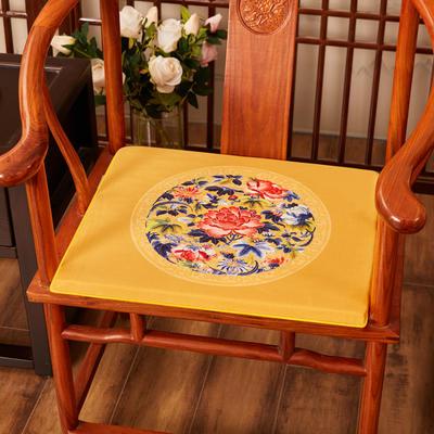 2020新款绒布印花坐垫系列-花团锦簇 40x40x2cm 秋香-亮黄