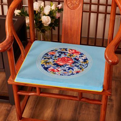 2020新款绒布印花坐垫系列-花团锦簇 40x40x2cm 秋香-亮蓝