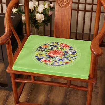 2020新款绒布印花坐垫系列-花团锦簇 40x40x2cm 秋香-亮绿