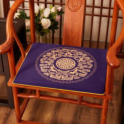 2020新款绒布印花坐垫系列-吉祥如意 45x40x3cm 绒布-如意藏蓝