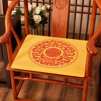 2020新款绒布印花坐垫系列-吉祥如意 45x40x3cm 绒布-如意黄