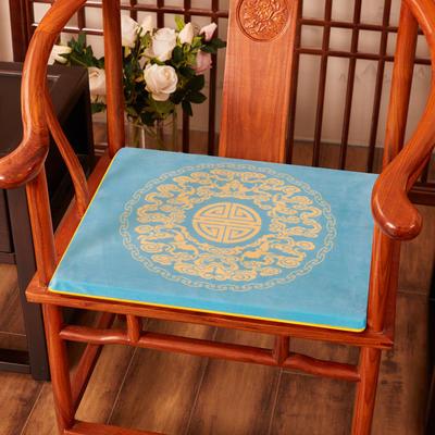 2020新款绒布印花坐垫系列-吉祥如意 45x40x3cm 绒布-如意亮蓝