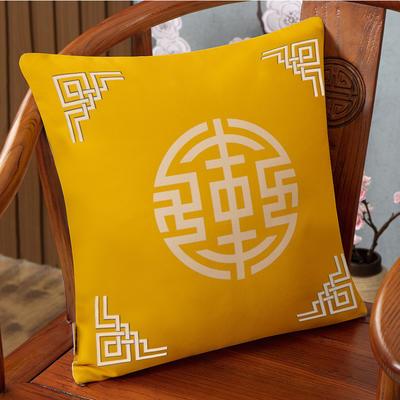 2020新款麻布印花抱枕系列(2) 45x45cm(不含芯) 锦绣-黄