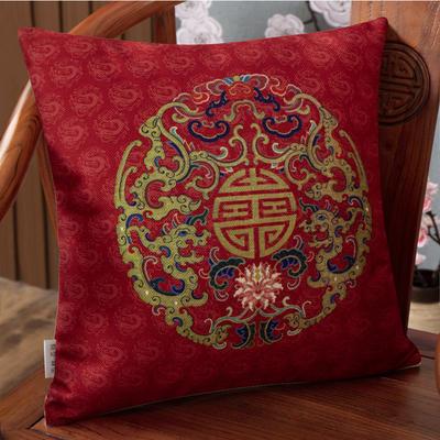 2020新款麻布印花抱枕系列(2) 45x45cm(不含芯) 龙纹吉祥-红