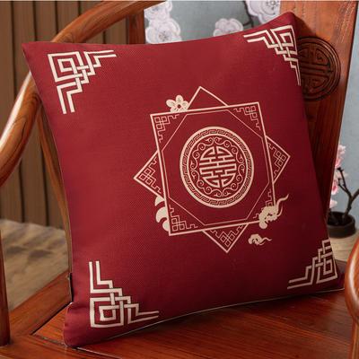 2020新款麻布印花抱枕系列(2) 45x45cm(不含芯) 盛世纷繁-红