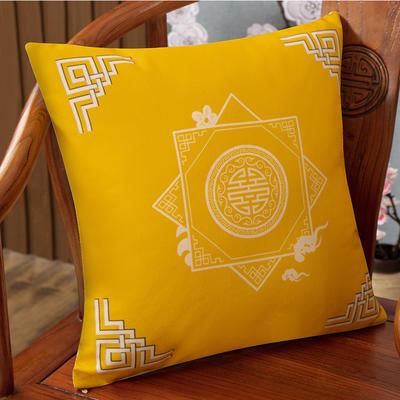 2020新款麻布印花抱枕系列(2) 45x45cm(不含芯) 盛世纷繁--黄