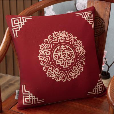 2020新款麻布印花抱枕系列(2) 45x45cm(不含芯) 五福临门-红