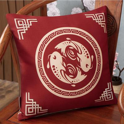 2020新款麻布印花抱枕系列(2) 45x45cm(不含芯) 鱼跃龙门-红