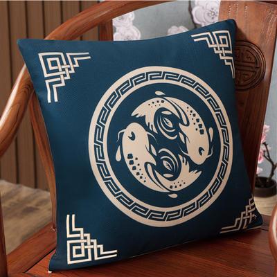 2020新款麻布印花抱枕系列(2) 45x45cm(不含芯) 鱼跃龙门-兰