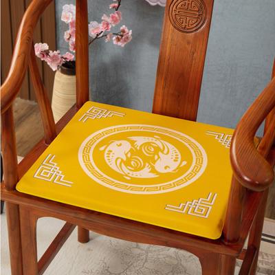 2020新款麻布印花坐垫系列(2) 45x40x3cm 鱼跃龙门-黄