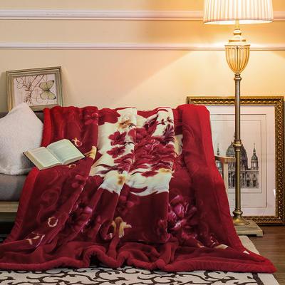 5D压花拉舍尔毛毯,保暖毯,婚庆毯,精品毯, 200cmx230cm 花开盛世-大红