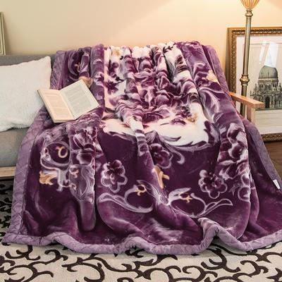 5D压花拉舍尔毛毯,保暖毯,婚庆毯,精品毯, 200cmx230cm 花开盛世-紫红色