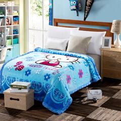 凯轩毛毯 4斤超柔拉舍尔学生毛毯,保暖毯,礼品毯, 150cm*200cm KT猫-蓝色