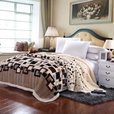 4斤超柔拉舍尔学生毛毯,保暖毯,礼品毯, 150cm*200cm 时尚格子