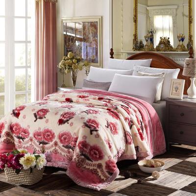4斤超柔拉舍尔学生毛毯,保暖毯,礼品毯, 150cm*200cm 心花怒放