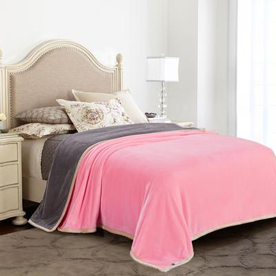 绒毯系列 纯色双层法兰绒,毛毯,保暖毯,宾馆酒店毛毯, 180cm*200cm 双拼(驼+紫)