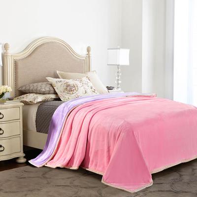 绒毯系列 纯色双层法兰绒,毛毯,保暖毯,宾馆酒店毛毯, 200cm*230cm 双拼(粉+紫)