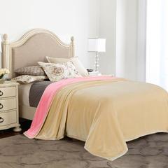 凯轩毛毯,绒毯系列 纯色双层法兰绒,毛毯,保暖毯,宾馆酒店毛毯, 150cm*200cm 双拼(黄+粉)