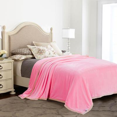 绒毯系列 纯色双层法兰绒,毛毯,保暖毯,宾馆酒店毛毯, 150cm*200cm 双层(粉色)