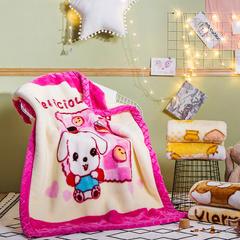凯轩毛毯 儿童拉舍尔毛毯,保暖毯,毛毯, 105cm*135cm 呆萌(玫红)
