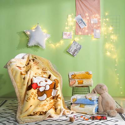 儿童拉舍尔毛毯,保暖毯,毛毯, 105cm*135cm 小狗(黄)