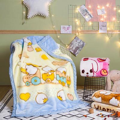儿童拉舍尔毛毯,保暖毯,毛毯, 105cm*135cm 小鸭(蓝)