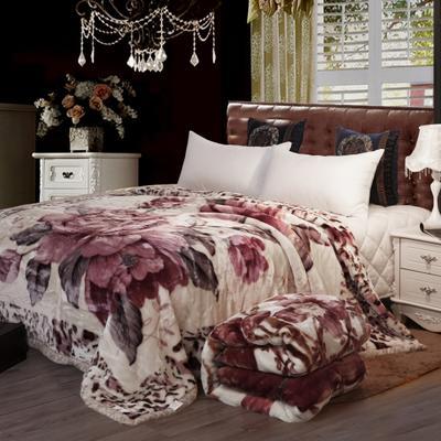 雙人拉舍爾毛毯,保暖毯,婚慶毯,毛毯,精品毯大紅,結婚毯 180cm*220cm2.8公斤 繁花似錦