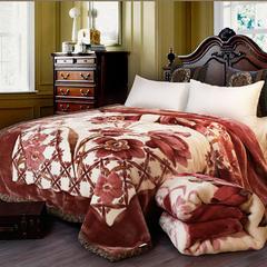 凯轩毛毯, 双人拉舍尔毛毯,保暖毯,婚庆毯,毛毯,精品毯, 180cm*220cm 花开富贵