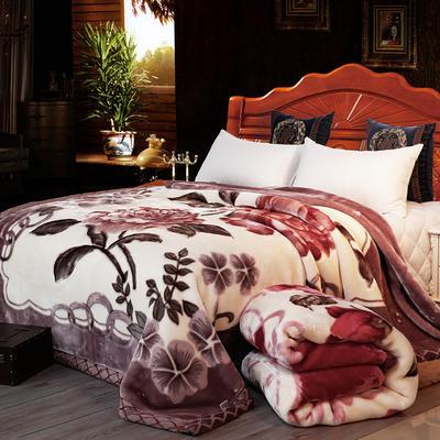 双人拉舍尔毛毯,保暖毯,婚庆毯,毛毯,精品毯大红,结婚毯 200cm*230cm 牡丹花开