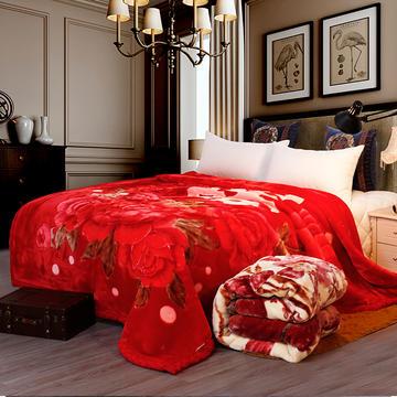 双人拉舍尔毛毯,保暖毯,婚庆毯,毛毯,精品毯大红,结婚毯