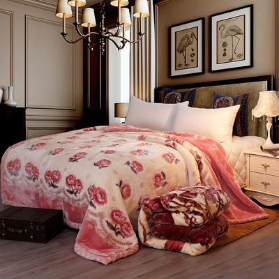 双人拉舍尔毛毯,保暖毯,婚庆毯,毛毯,精品毯大红,结婚毯 150cmX200cm2公斤 心花怒放