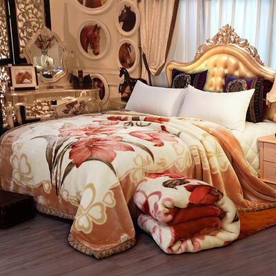 双人拉舍尔毛毯,保暖毯,婚庆毯,毛毯,精品毯大红,结婚毯 200cm*230cm5公斤 绽放百合