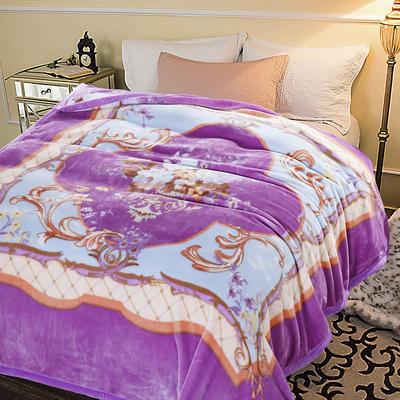 超柔,云毯, 西班牙盖毯,保暖毯,毛毯,精品毯,婚庆毯 200cmx230cm 紫色花韵