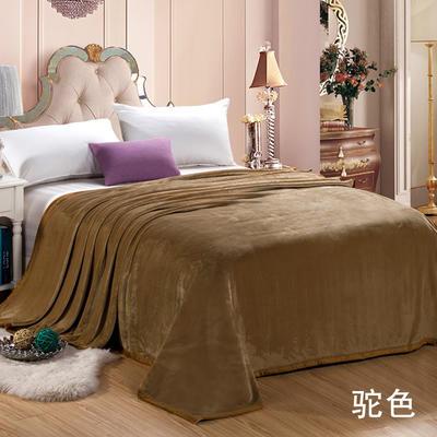 绒毯系列 纯色双层法兰绒,毛毯,保暖毯,宾馆酒店毛毯, 200cm*230cm 驼色