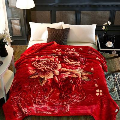 新款5D压花精品天丝云毯.精品毯,高档毛毯,婚庆毯,大红结婚保暖毯 200cmX230cm(4公斤) 幸福回味