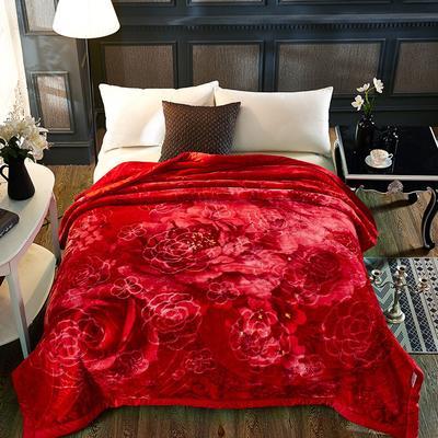 新款5D压花精品天丝云毯.精品毯,高档毛毯,婚庆毯,大红结婚保暖毯 200cmX230cm(4公斤) 幸福一身