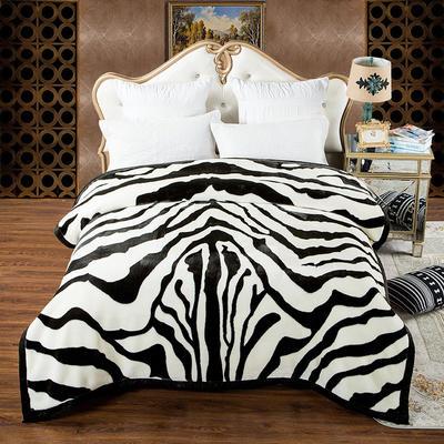 安哥拉精品毯,婚庆毯,云毯,保暖毯, 200cmx230cm 斑马纹
