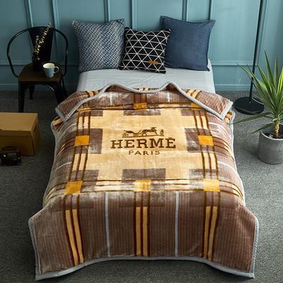 2018新款-單人加厚云毯.保暖毯.空調毯. 150*200cm 創意空間-米黃色