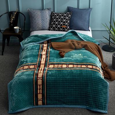 2018新款-单人加厚云毯.保暖毯.空调毯. 150*200cm 律动-绿色