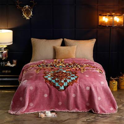 2018新款-花邊加密單層云毯.婚慶毯 .禮品毯 .保暖毯 200cmx230cm 布拉格-駝紅