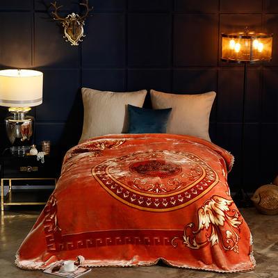 2018新款-花边加密单层云毯.婚庆毯 .礼品毯 .保暖毯 200cmx230cm 锦绣良缘-桔黄